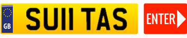 yellow registration plate with enter button in red
