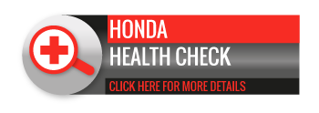 Black, grey and red Honda health Check call to action button, with image of magnifying glass