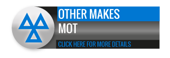 Black, grey and blue Other Makes MOT call to action button, with image of triangle.