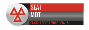 Black, grey and red SEAT MOT call to action button, with image of triangle