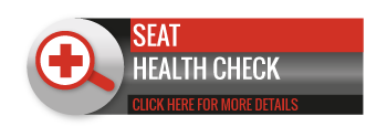 Black, grey and red SEAT Health Check call to action button, with image of magnifying glass