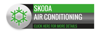 Black, grey and green Skoda Air Conditioning call to action button, with image of snowflake