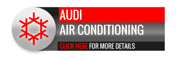Black, grey and red Audi Air Conditioning call to action button, with snowflake image.
