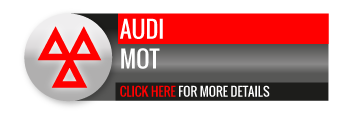 Black, grey and red Audi MOT call to action button, with triangle image
