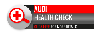 Black, grey and red Audi Health Check call to action button, with magnifying glass image