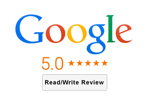 Google Reviews logo with 5.0 star rating, and call to action button