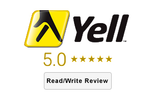 Yell Reviews logo with 5.0 star rating, with call to action button