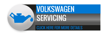 Black, grey and blue Volkswagen Servicing call to action button, with image of oil can