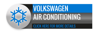 Black, grey and blue Volkswagen Air Conditioning call to action button, with image of snowflake