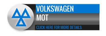 Black, grey and blue Volkswagen MOT call to action button, with image of triangle