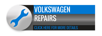 Black, grey and blue Volkswagen Repairs call to action button, with image of spanner