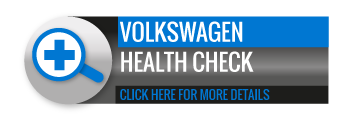 Black, grey and blue Volkswagen Health Check call to action button, with image of magnifying glass