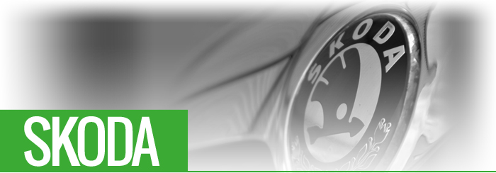 Skoda Manufacturer title with image of Skoda Manufacturer logo on front of car
